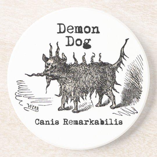 Vintage funny demon dog drink coaster