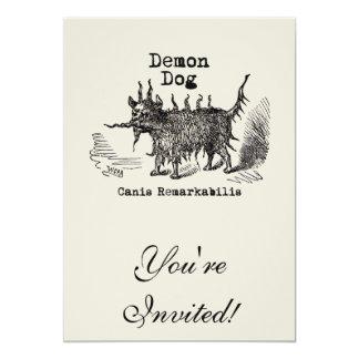 "Vintage funny demon dog 5"" x 7"" invitation card"