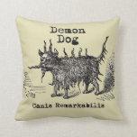Vintage funny demon dog pillows