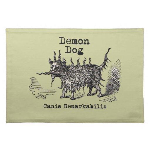 Vintage funny demon dog placemat