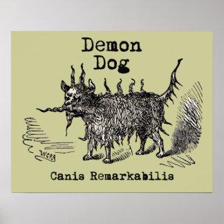 Vintage funny demon dog posters