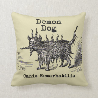 Vintage funny demon dog throw pillow