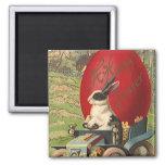 Vintage Funny Easter, Bunny Rabbit Egg Automobile 2 Inch Square Magnet
