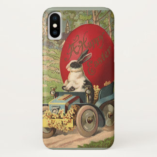Vintage Funny Easter, Bunny Rabbit Egg Automobile iPhone X Case