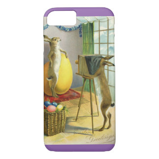 Vintage Funny Easter, Bunny Rabbit Photographer iPhone 7 Case