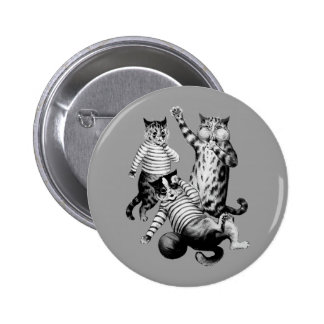 Vintage funny football playing cats button