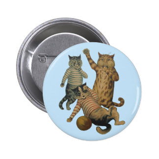 Vintage funny football playing cats buttons