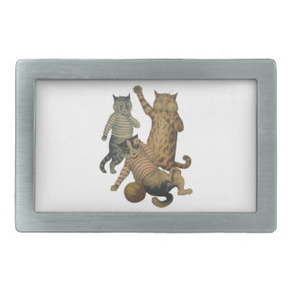 Vintage funny football playing cats rectangular belt buckle