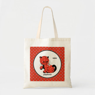 Vintage Funny Kitty Valentine's Day Tote Bags