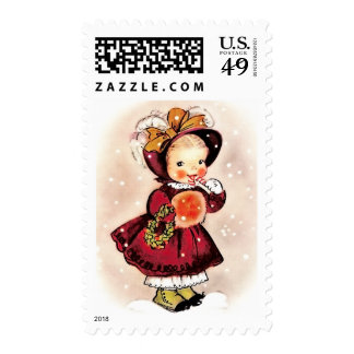 Vintage Funny Little Girl Christmas Postage Stamps