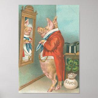 Vintage Funny Money Pig Poster