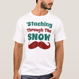Vintage Funny Mustache Christmas T Shirt