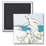 Vintage Funny Polar Bears 2 Inch Square Magnet