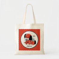 Vintage Funny Puppy Valentine's Day Tote Bags