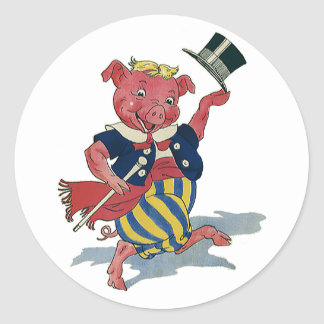 Vintage Funny Silly Humor, Dance Dancing Pig Round Stickers