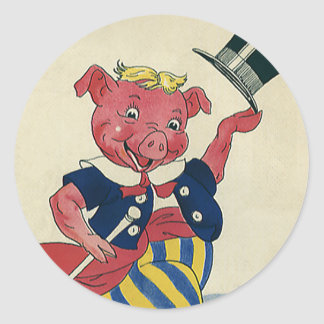 Vintage Funny Silly Humor, Dance Dancing Pig Stickers