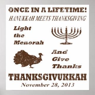Vintage Funny Thanksgivukkah Poster