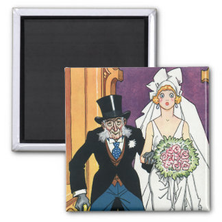 Vintage Funny Wedding, May December Romance 2 Inch Square Magnet