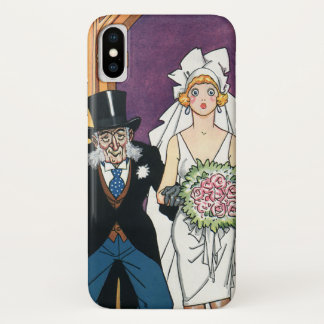 Vintage Funny Wedding, May December Romance iPhone X Case