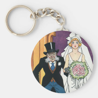 Vintage Funny Wedding, May December Romance Keychain