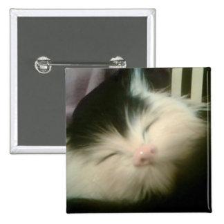 Vintage Fur Black White Kitten Retro Kitty Cat Mug Pin
