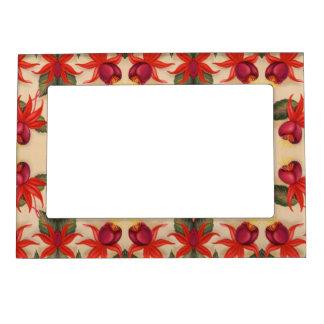 Vintage Fuschia Flowers Pattern Magnetic Frame