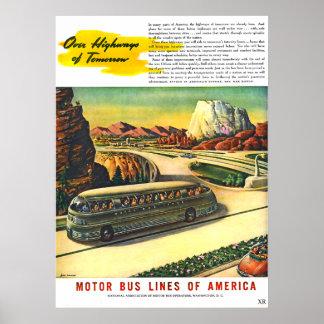Vintage Futuristic Bus Travel Poster