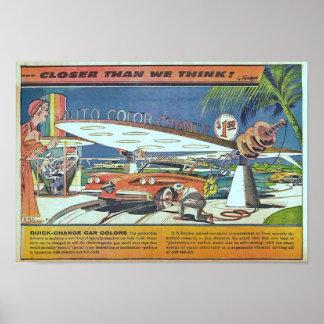 Vintage Futuristic Science Fiction Car Poster