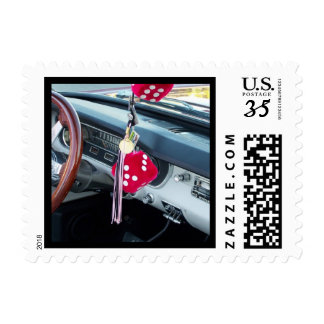 Vintage Fuzzy Dice Muscle Car Postcard Stamp