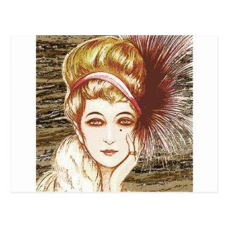 Vintage gal 2 postcard