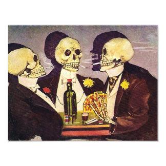 Vintage Gambling Skeletons Poker Party 4.25x5.5 Paper Invitation Card