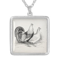 Vintage Game Fowl Chicken Birds Rooster Chickens Silver Plated Necklace