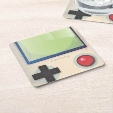 bartonleclaydesign Vintage Game System Square Paper Coaster