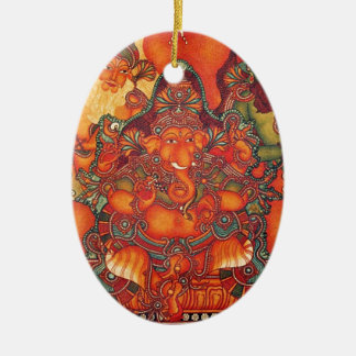 VINTAGE GANESH PAINTING CERAMIC ORNAMENT