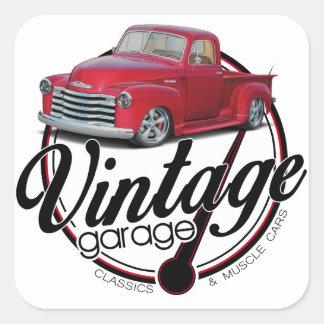 Vintage Garage Truck Square Sticker