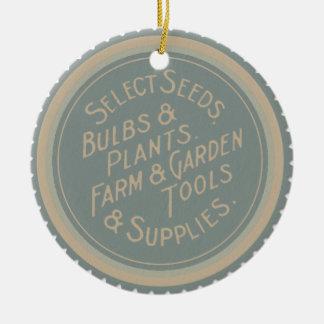 Vintage Garden Advertisement Label Ceramic Ornament