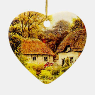 Vintage Garden Art - Quinton, Alfred Double-Sided Heart Ceramic Christmas Ornament