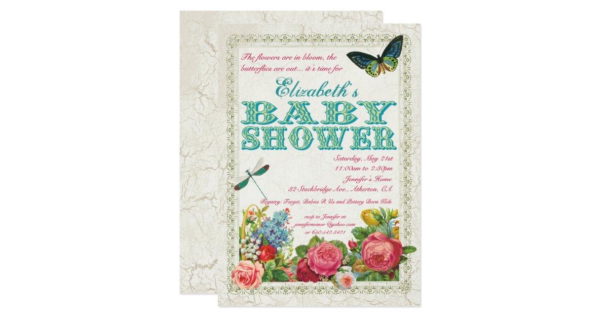 vintage garden baby shower invitation zazzle