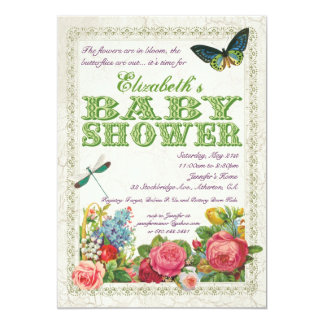 Vintage Garden Baby Shower Invitation - Green