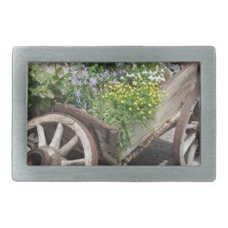 Vintage garden barrow with wild flowers and herbs rectangular belt buckles