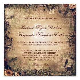 Vintage Garden Distressed Wedding Invitations