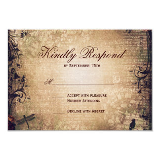 Vintage Garden Distressed Wedding RSVP Cards Announcement