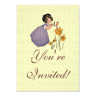 Vintage Garden Fairy and Flowers 4.5x6.25 Paper Invitation Card