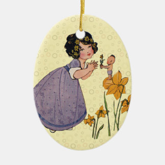 Vintage Garden Fairy and Flowers Double-Sided Oval Ceramic Christmas Ornament
