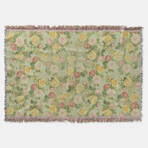 Vintage Garden Floral Rose Pink/Green Country