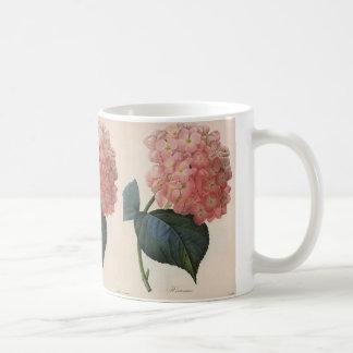 Vintage Garden Flowers, Pink Hydrangea Hortensia Coffee Mug
