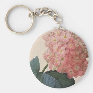 Vintage Garden Flowers, Pink Hydrangea Hortensia Keychain