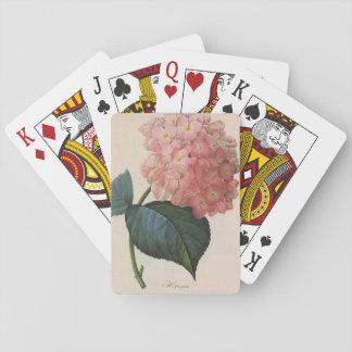 Vintage Garden Flowers, Pink Hydrangea Hortensia Playing Cards