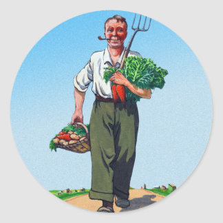 Vintage Garden Gardening Harvest Man Vegetables Classic Round Sticker