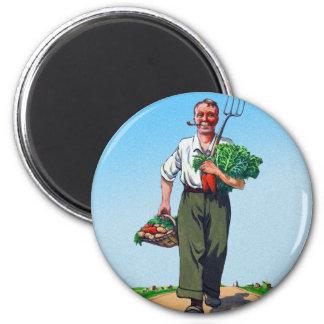 Vintage Garden Gardening Harvest Man Vegetables Magnet